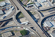 Northwest aerial view of the intersection of Causeway Blvd. and Airline Highway in Metairie, Louisiana
