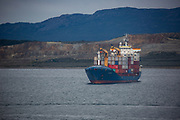 Container ship (Asturiano) in the bay of Ushuaia, Patagonia, Argentina