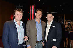 Left to right, EDWARD SEYFRIED, lawyer BEN ROSE and EDWARD COLLINS at a party in aid of the Youth at Risk charity held at Raffles, 287 King's Road, London on 27th November 2013.