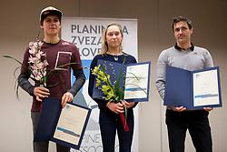 Domen Skofic, Janja Garnbret and Gorazd Hren at the Alpine Association of Slovenia award ceremony for the most successful in alpinism, sports and ice climbing and turning skiing in 2017, on January 31, 2018 in Gospodarsko raztavisce, Ljubljana, Slovenia. Photo by Urban Urbanc / Sportida
