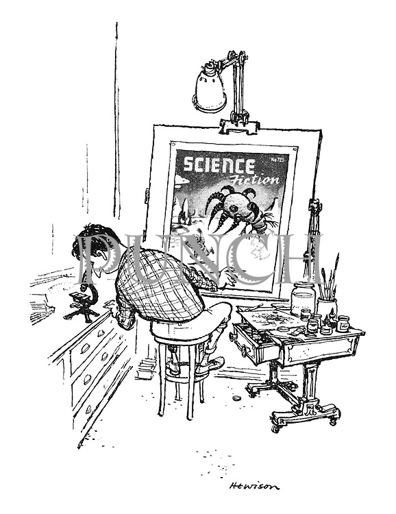 (Artist creating science fiction magazine cover in studio)