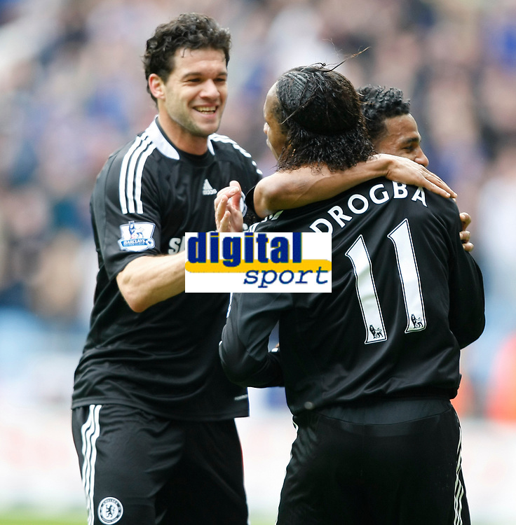 Photo: Steve Bond/Richard Lane Photography.<br />Coventry City v Chelsea. FA Cup 6th Round. 07/03/2009. Michael Ballack (L) arrives to congratulate Didier Drogba