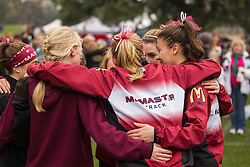 London, Ontario ---2012-11-10--- The McMaster Marauders get ready at the 2012 CIS Cross Country Championships at Thames Valley Golf Course in London, Ontario, November 10, 2012. .GEOFF ROBINS Mundo Sport Images