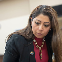 Assistant District Attorney Mandana Shousthari speaks with reporters briefly after the testimony and sentencing of former leader of the religious sect Aggressive Christianity James Green, at the 13th Judicial District Courthouse in Grants on Friday.