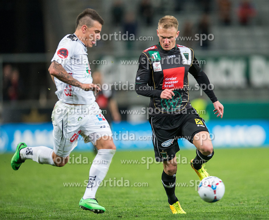 05.04.2014, Tivoli Stadion, Innsbruck, AUT, 1. FBL, FC Wacker Innsbruck vs RZ Pellets WAC, 31. Runde, im Bild (v.l.) Sandro Gotal (WAC) gegen Zeljko Djokic (Innsbruck) // (v.l.) Sandro Gotal (WAC) gegen Zeljko Djokic (Innsbruck) during Austrian Football Bundesliga 31th round match between FC Wacker Innsbruck and RZ Pellets WAC at the Tivoli Stadion in Innsbruck, Austria on 2014/04/05. EXPA Pictures © 2014, PhotoCredit: EXPA/ Johann Groder