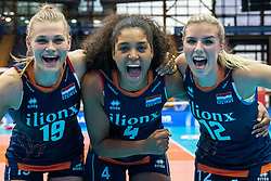 02-08-2019 ITA: FIVB Tokyo Volleyball Qualification 2019 / Belgium - Netherlands, Catania<br /> 1e match pool F in hall Pala Catania between Belgium - Netherlands. Netherlands win 3-0 / Nika Daalderop #19 of Netherlands, Celeste Plak #4 of Netherlands, Britt Bongaerts #12 of Netherlands