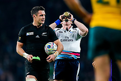 New Zealand Fly-Half Daniel Carter looks on before kicking a conversion - Mandatory byline: Rogan Thomson/JMP - 07966 386802 - 31/10/2015 - RUGBY UNION - Twickenham Stadium - London, England - New Zealand v Australia - Rugby World Cup 2015 FINAL.