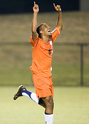 Virginia Cavaliers F/MF Ross LaBauex (8) celebrates after scoring the game's first goal.  The #4 ranked Virginia Cavaliers men's soccer team faced the Mount Saint Mary's Mountaineers at Klockner Stadium in Charlottesville, VA on September 25, 2007.
