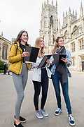 13 October 2017: Tollbar MAT Sixth Form College.<br /> Geography A Level field trip to York.<br /> (L-r) Megan Grant, Charlotte Powell and Emily Abbott. <br /> Picture: Sean Spencer/Hull News & Pictures Ltd<br /> 01482 210267/07976 433960<br /> www.hullnews.co.uk         sean@hullnews.co.uk