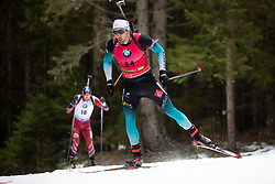 Martin Fourcade (FRA) in action during the Pursuit Men 12,5 km at day 8 of IBU Biathlon World Cup 2018/19 Pokljuka, on December 9, 2018 in Rudno polje, Pokljuka, Pokljuka, Slovenia. Photo by Urban Urbanc / Sportida