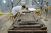 BEIJING, May 5, 2016 <br /> <br /> Archaeologists clean up the interior coffin of the 2,000-year-old tomb of Haihunhou, the Marquis of Haihun, in Nanchang, east China's Jiangxi Province, May 4, 2016. Archaeological excavations of the interior coffin of Haihunhou has entered later cleaning up phase. More than 10,000 cultural relics have been unearthed from the tomb since 2011. The tomb, which dates back to the Western Han Dynasty, is the best-preserved tomb of that period ever found in China. <br /> ©Exclusivepix Media