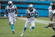 Curtis Samuel(10) uses his speed to get a first down in the New Orleans Saints 34 to 13 victory over the Carolina Panthers.