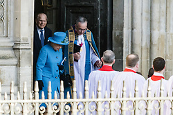Westminster Abbey, London, March 14th 2016.  Her Majesty The Queen, Head of the Commonwealth, accompanied by The Duke of Edinburgh, The Duke and Duchess of Cambridge and Prince Harry attend the Commonwealth Service at Westminster Abbey on Commonwealth Day. PICTURED: The Queen emerges from Westminster Abbey at the end of the service.