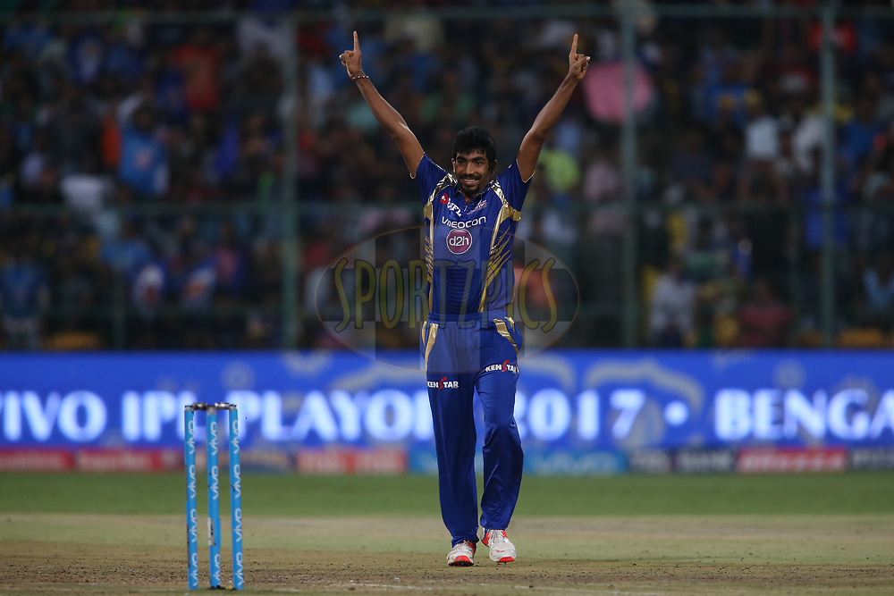 Jasprit Bumrah of the Mumbai Indians celebrates getting Suryakumar Yadav of the Kolkata Knight Riders wicket during the 2nd qualifier match of the Vivo 2017 Indian Premier League between the Mumbai Indians and the Kolkata Knight Riders held at the M.Chinnaswamy Stadium in Bangalore, India on the 19th May 2017<br /> <br /> Photo by Shaun Roy - Sportzpics - IPL
