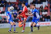 Nicky Ajose, Ashley Eastham during the Sky Bet League 1 match between Rochdale and Swindon Town at Spotland, Rochdale, England on 30 April 2016. Photo by Daniel Youngs.