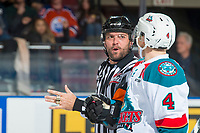 KELOWNA, CANADA - NOVEMBER 11: Referee Reagan Vetter speaks to Kelowna Rockets against the Red Deer Rebels on November 11, 2017 at Prospera Place in Kelowna, British Columbia, Canada.  (Photo by Marissa Baecker/Shoot the Breeze)  *** Local Caption ***