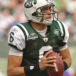 Nov 15, 2009; East Rutherford, NJ, USA; New York Jets quarterback Mark Sanchez (6) runs a bootleg during first half NFL action between the New York Jets and Jacksonville Jaguars at Giants Stadium.