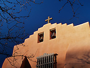 The adobe facade of the First Presbyterian Church in Santa Fe, New Mexico.