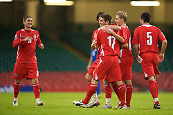 CARDIFF, WALES - Saturday, October 11, 2008: Wales' Ched Evans celebrates scoring the second goal against Liechtenstein during the 2010 FIFA World Cup South Africa Qualifying Group 4 match at the Millennium Stadium. (Photo by David Rawcliffe/Propaganda)