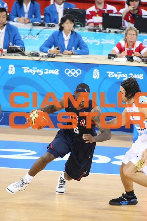 DESCRIZIONE : Beijing Pechino Olympic Games Olimpiadi 2008 Men Semifinal USA Argentina<br /> GIOCATORE : LeBron JAMES <br /> SQUADRA : USA<br /> EVENTO : Olympic Games Olimpiadi 2008<br /> GARA : USA Argentina<br /> DATA : 22/08/2008 <br /> CATEGORIA : Palleggio<br /> SPORT : Pallacanestro <br /> AUTORE : Agenzia Ciamillo-Castoria/G.Ciamillo<br /> Galleria : Beijing Pechino Olympic Games Olimpiadi 2008 <br /> Fotonotizia : Beijing Pechino Olympic Games Olimpiadi 2008 Men Semifinal USA Argentina<br /> Predefinita :