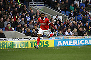 Charlton's Ademola Lookman  celebrates after scoring Charlton's first goal against Brighton during the Sky Bet Championship match between Brighton and Hove Albion and Charlton Athletic at the American Express Community Stadium, Brighton and Hove, England on 5 December 2015. Photo by Geoff Penn.