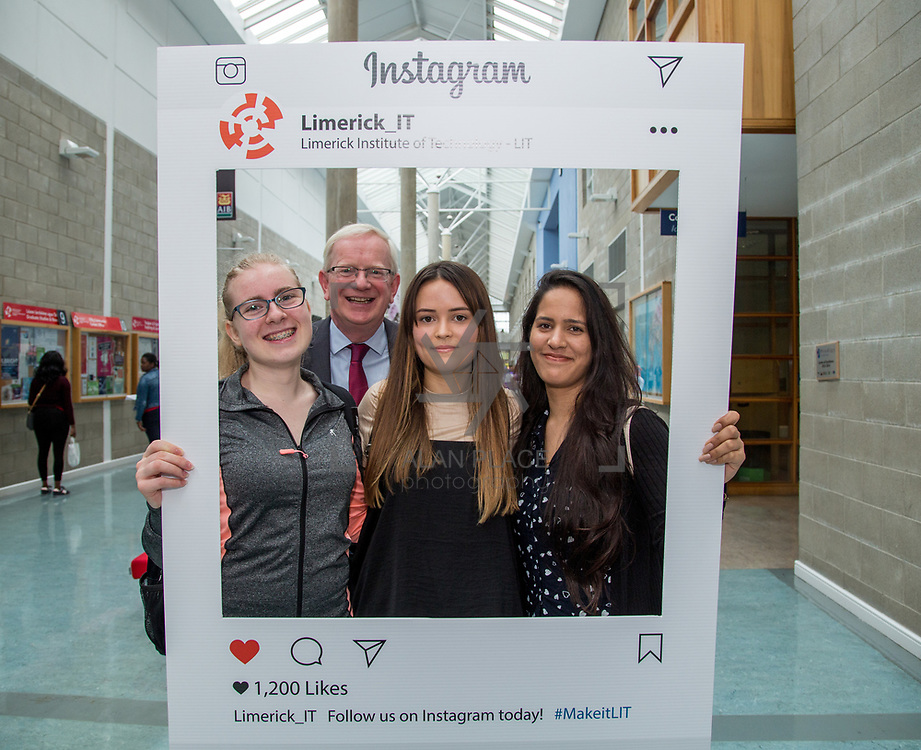 05.09. 2017.                             <br /> Limerick Institute of Technology welcomed its first year students onto Campus today 5th Sept 2017. <br /> Pictured with the President of LIT, Prof. Vincent Cunnane were Interior Design Students, left to right, Darina Tomczak, Aoife Dooley and Anita Lal. Picture: Alan Place