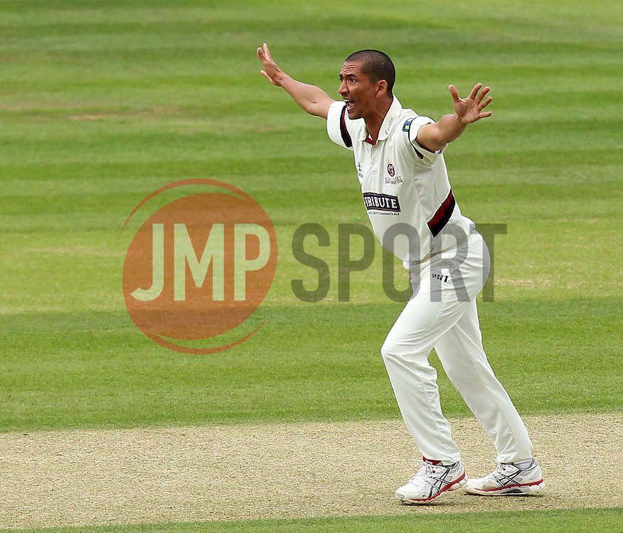Somerset's Alfonso Thomas appeals for LBW but the umpire turns it down - Photo mandatory by-line: Robbie Stephenson/JMP - Mobile: 07966 386802 - 22/06/2015 - SPORT - Cricket - Southampton - The Ageas Bowl - Hampshire v Somerset - County Championship Division One