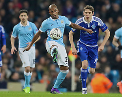 MANCHESTER, ENGLAND - Tuesday, March 15, 2016: Manchester City's Fernando Luiz Roza 'Fernandinho' in action against FC Dynamo Kyiv during the UEFA Champions League Round of 16 2nd Leg match at the City of Manchester Stadium. (Pic by David Rawcliffe/Propaganda)