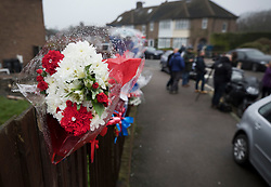 © Licensed to London News Pictures. 11/04/2018. London, UK. Reporters and TV news crews wait in South Park Crescent where floral tributes to burglar Henry Vincent have been placed near the house of Richard Osborn-Brooks. Henry Vincent was killed as he burgled the home of 78 year old Richard Osborn-Brooks. Mr Osborn-Brooks was arrested for murder but later released without charge. Friends and family of Henry Vincent have had floral tributes they placed near the scene repeatedly torn down by locals. Photo credit: Peter Macdiarmid/LNP