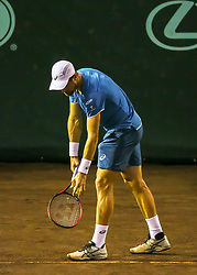 April 13, 2018 - Houston, TX, U.S. - HOUSTON, TX - APRIL 13:  Steve Johnson of the United States prepares to serve the ball in the match against John Isner of the United States during the Quarterfinal round of the Men's Clay Court Championship on April 13, 2018 at River Oaks Country Club in Houston, Texas.  (Photo by Leslie Plaza Johnson/Icon Sportswire) (Credit Image: © Leslie Plaza Johnson/Icon SMI via ZUMA Press)