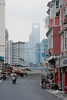 street scene in Shanghai China with skyscrapers behind