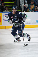 KELOWNA, CANADA - APRIL 3: Keegan Kolesar #28 of the Seattle Thunderbirds skates against the Kelowna Rockets on April 3, 2014 during Game 1 of the second round of WHL Playoffs at Prospera Place in Kelowna, British Columbia, Canada.   (Photo by Marissa Baecker/Getty Images)  *** Local Caption *** Keegan Kolesar;