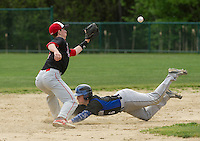 Winnisquam's Torrey Martinez slides into second ahead of the throw to Belmont's Colby Leroux during Wednesday afternoon baseball.  (Karen Bobotas/for the Laconia Daily Sun)