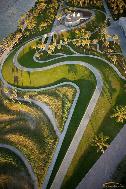 Aerial view of South Pointe Park, South Beach, Florida in the early morning