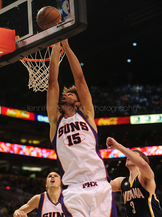 Mar. 6 2010; Phoenix, AZ, USA;  Phoenix Suns center Robin Lopez (15) puts up a shot in the second half at the US Airways Center. The Suns defeated the Pacers 113 to 105. Mandatory Credit: Jennifer Stewart-US PRESSWIRE.