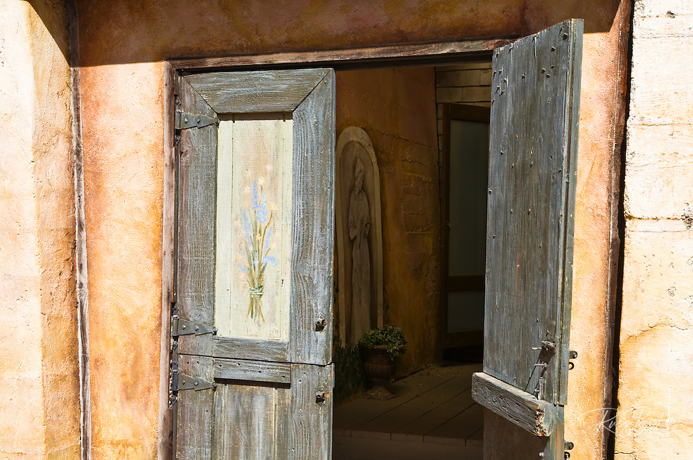 Wooden doors at the Harmony Chapel, Harmony, California