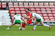 11th November 2018 , Racecourse Ground,  Wrexham, Wales ;  Rugby League World Cup Qualifier,Wales v Ireland ; Rhys Williams of Wales is tackled by Liam Finn of Ireland <br /> <br /> <br /> Credit:   Craig Thomas/Replay Images