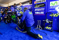 October 20, 2017 - Melbourne, Victoria, Australia - Mechanic's work the bike of Italian rider Valentino Rossi (#46) of Movistar Yamaha MotoGP during the first free practice session of the MotoGP class at the 2017 Australian MotoGP at Phillip Island, Australia. (Credit Image: © Theo Karanikos via ZUMA Wire)