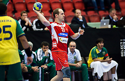 14.01.2011, Himmelstalundshallen, Norrköping, SWE, IHF Handball Weltmeisterschaft 2011, Herren, Österreich vs Brasilien, im Bild, // Austria #21 Viktor Szilagyi // during the IHF 2011 World Men's Handball Championship match Austria vs Brazil at Himmelstalundshallen in Norrkoping. EXPA Pictures © 2011, PhotoCredit: EXPA/ Skycam/ Erik Astrom +++++ ATTENTION - OUT OF SWEDEN/SWE +++++