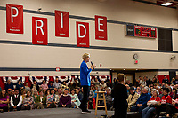 Senator Elizabeth Warren during campaign town hall at Laconia Middle School.  Karen Bobotas for the Laconia Daily Sun