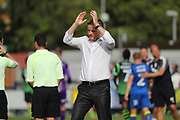 AFC Wimbledon manager Neal Ardley clapping during the EFL Sky Bet League 1 match between AFC Wimbledon and Doncaster Rovers at the Cherry Red Records Stadium, Kingston, England on 26 August 2017. Photo by Matthew Redman.