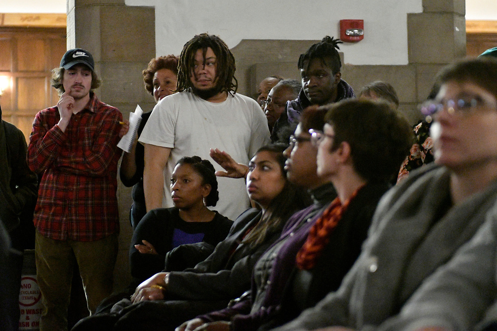 Community members, activist and students shut down a town hall meeting about the proposed $130 million, 30,000-seat stadium on Temple's campus, on Tuesday.