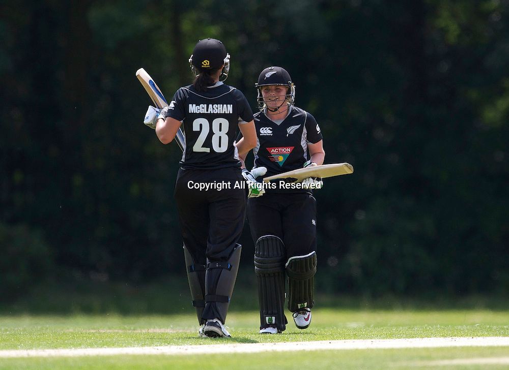 5.7.11 Southgate, England. Lucy Doolan of New Zealand White Ferns as she scores 50 runs during the India Women vs White Ferns NatWest Womens Quadrangular Series Women's One-Day Match at The Walker Cricket Ground, Southgate.