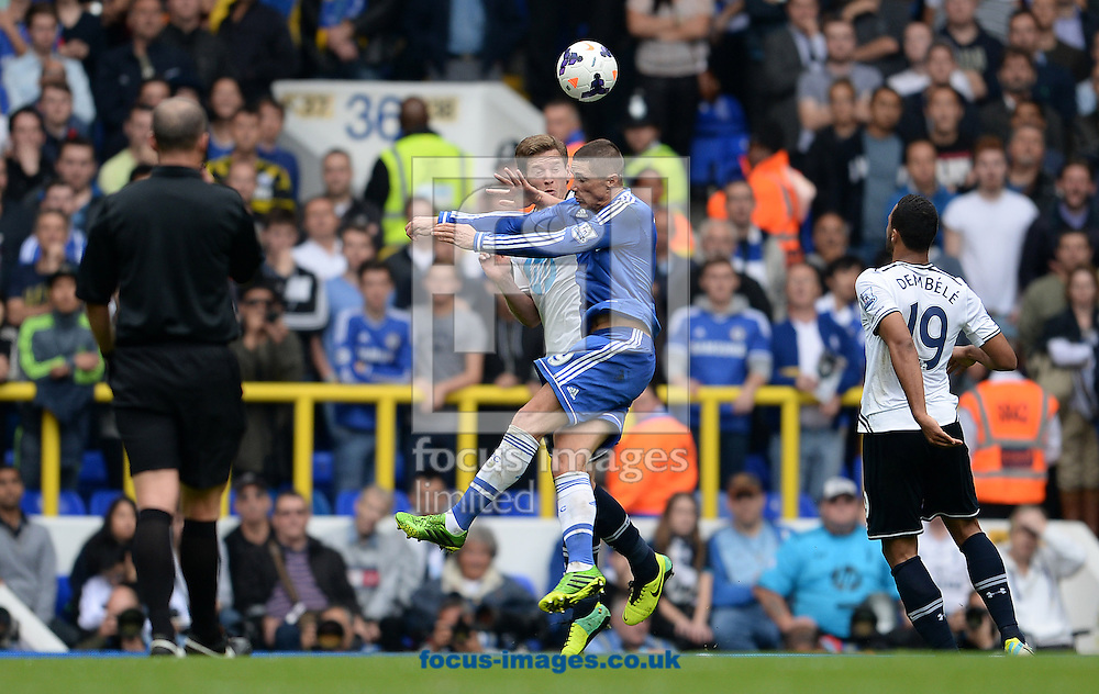 Picture by Andrew Timms/Focus Images Ltd +44 7917 236526<br /> 28/09/2013<br /> Jan Vertonghen of Tottenham Hotspur gets fouled by Fernando Torres of Chelsea in which he got a second yellow card and sent off during the Barclays Premier League match at White Hart Lane, London.