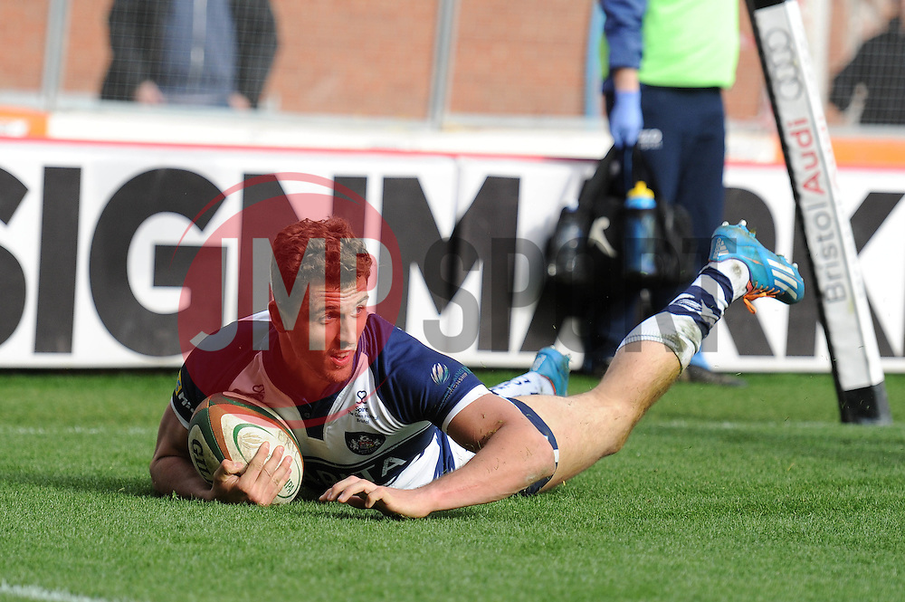 Bristol Rugby Full Back Jack Wallace scores a try - Photo mandatory by-line: Dougie Allward/JMP - Mobile: 07966 386802 - 29/03/2015 - SPORT - Rugby - Bristol - Ashton Gate - Bristol Rugby v Bedford Blues - Greene King IPA Championship