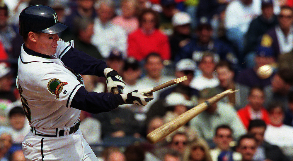 Jeff Cirillo breaks his bat on a pitch in the 3rd inning of the home opener Tuesday March 7, 1998.  The bat broke in two places as the ball flies off for an infiled ground out.