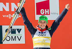 Third placed in Overall World Cup women classification Maja Vtic (SLO) celebrates during trophy ceremony after Ski Flying Hill Individual Competition at Day 4 of FIS Ski Jumping World Cup Final 2016, on March 20, 2016 in Planica, Slovenia. Photo by Vid Ponikvar / Sportida