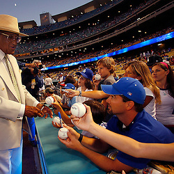 Colorado Rockies vs Los Angeles Dodgers at Dodger Stadium, Dodgers Friday night September 1. 2006 in Los Angeles,Calif., Former Dodger Don Newcombe was honored with a resolution from the city of Los Angeles, Newcombe signs autographs before the game. <br /> (SGVN Staff Photo Keith Birmingham SXSports)