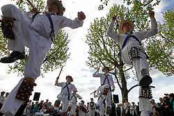 © Licensed to London News Pictures. 12/05/2012, London, UK.  Jockey Morris Men dance at the South Bank by the National Theatre in London as Morris men from around the country gather in London for a Westminster Morris Men Day of Dance, Saturday, May 12, 2012. Photo credit : Sang Tan/LNP