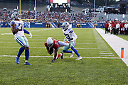 Arizona Cardinals running back Kerwynn Williams (33) runs for a 5 yard touchdown and a 7-0 first quarter lead as Dallas Cowboys rookie cornerback Chidobe Awuzie (33) and Dallas Cowboys outside linebacker Damien Wilson (57) arrive too late to stop the score during the 2017 NFL Pro Football Hall of Fame preseason football game against the Dallas Cowboys on Thursday, Aug. 3, 2017 in Canton, Ohio. The Cowboys won the game 20-18. (©Paul Anthony Spinelli)